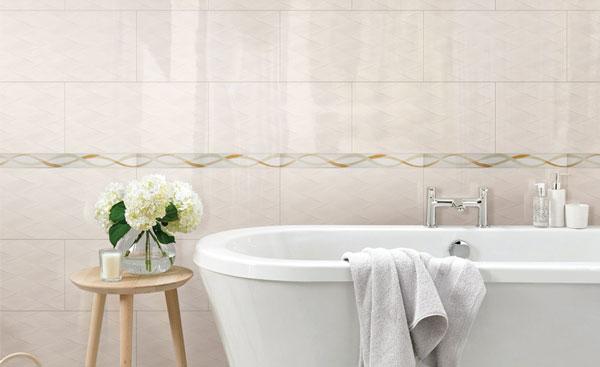 5 mẫu gạch ốp tường nhà tắm màu kem cho không gian rộng mở