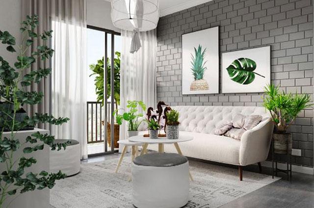 gạch ốp tường phòng khách 2020