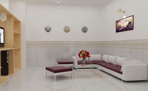 Tùy diện tích phòng khách để chọn kích thước gạch ốp phù hợp
