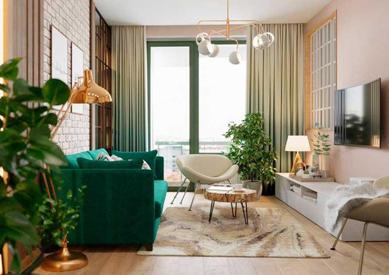 Trang trí phòng khách bằng cây xanh