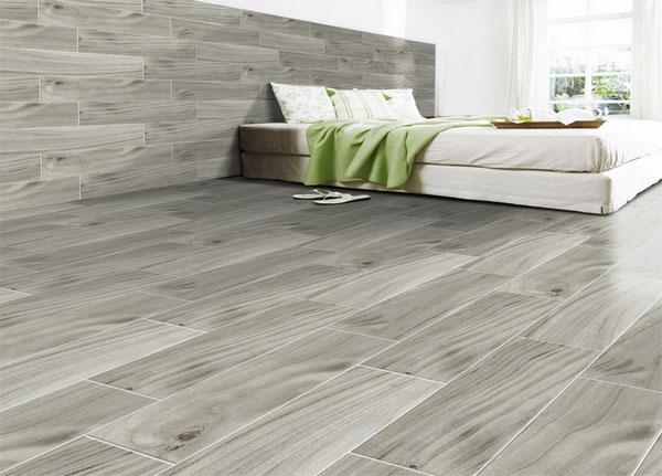 CHọn gạch lát nền giả gỗ kích thước lớn cho phòng ngủ